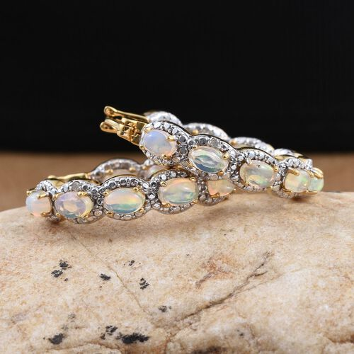 Ethiopian Opal (Ovl), Diamond Hoop Earrings (with Clasp) in 14K Gold Overlay Sterling Silver 2.780 Ct.