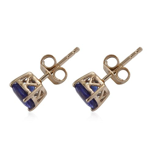 14K Y Gold Tanzanite (Rnd) Stud Earrings (with Push Back) 2.000 Ct.