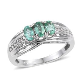 Boyaca Colombian Emerald (Ovl), Diamond Ring in Platinum Overlay Sterling Silver 0.750 Ct.