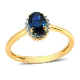 ILIANA 18K Y Gold AAAA Kanchanaburi Blue Sapphire (Ovl 1.00 Ct), Diamond Ring 1.100 Ct.