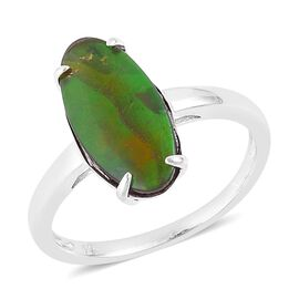 Canadian Ammolite (Ovl) Solitaire Ring in Platinum Overlay Sterling Silver 3.250 Ct.