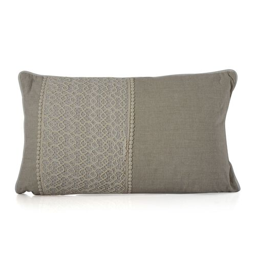 (Option 4) Ivory Beige Colour Net Patch Work Cushion (Size 43x43 Cm)