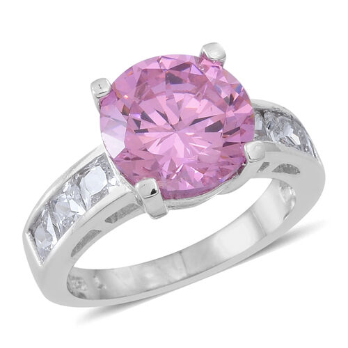 ELANZA AAA Simulated Kunzite (Rnd), Simulated White Diamond Ring in Rhodium Plated Sterling Silver
