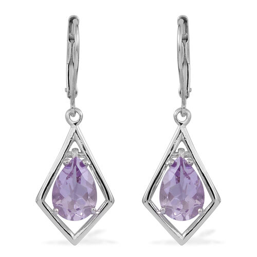 Rose De France Amethyst (Pear) Lever Back Earrings in Rhodium Plated Sterling Silver 3.000 Ct.