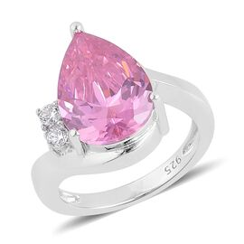 ELANZA AAA Simulated Pink Sapphire and Simulated White Diamond Ring in Rhodium Plated Sterling Silver