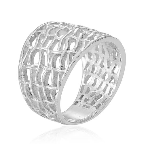 Thai Sterling Silver Weave Net Design Ring, Silver wt 7.08 Gms.