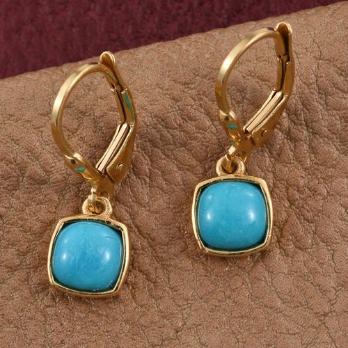 Arizona Sleeping Beauty Turquoise (Cush) Lever Back Earrings in 14K Gold Overlay Sterling Silver 1.500 Ct.