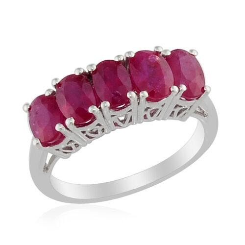 African Ruby (Ovl) 5 Stone Ring in Platinum Overlay Sterling Silver 2.750 Ct.