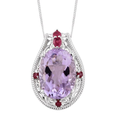 Limited Edition - Designer Inspired - AAA Rose De France Amethyst (Ovl 10.50 Ct), African Ruby Pendant With Chain in Platinum Overlay Sterling Silver 10.945 Ct.
