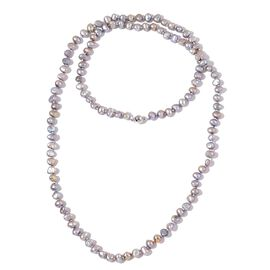 Fresh Water Silver Grey Pearl Necklace (Size 36) in Silver Tone with Magnetic Clasp