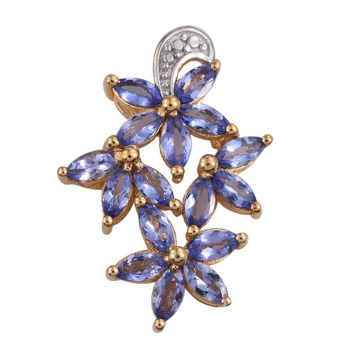 Tanzanite (Mrq) Floral Pendant in 14K Gold Overlay Sterling Silver 2.500 Ct.