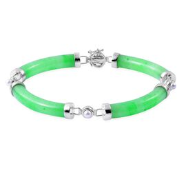 Green Jade and Fresh Water Pearl Chinese Style Bracelet (Size 7.5) in Sterling Silver 75.000 Ct.