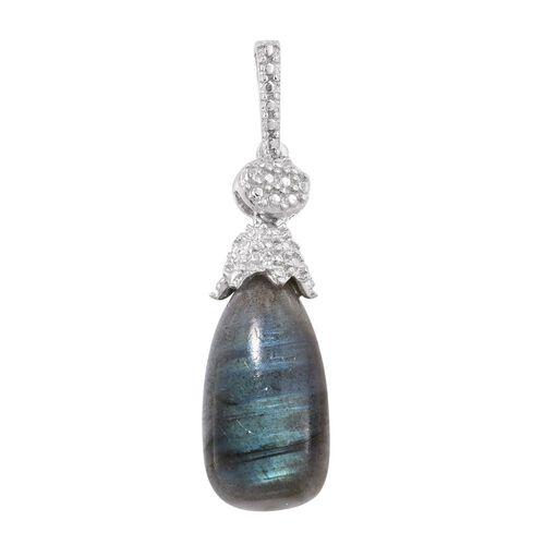 Labradorite Drop Pendant in Platinum Overlay Sterling Silver 7.500 Ct.