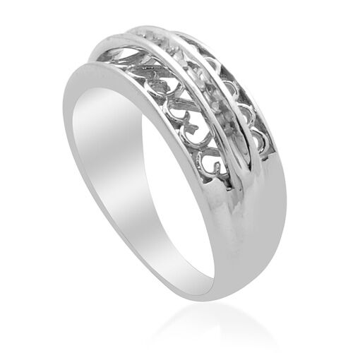Diamond (Rnd) Ring in Platinum Overlay Sterling Silver 0.040 Ct.
