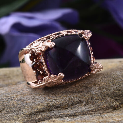 GP Amethyst (Cush 15.25 Ct), Mozambique Garnet and Kanchanaburi Blue Sapphire Ring in Rose Gold Overlay Sterling Silver 20.750 Ct.