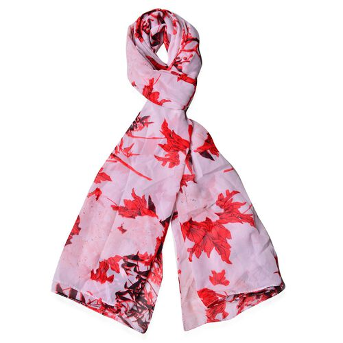 Red, Black and White Colour Plum Blossom Pattern Scarf (Size 170 x70 Cm)