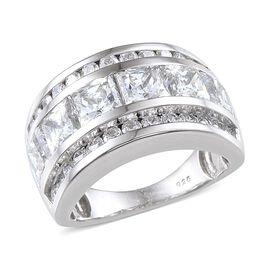 J Francis - Platinum Overlay Sterling Silver (Sqr) Half Eternity Band Ring Made with SWAROVSKI ZIRCONIA 5.040 Ct.