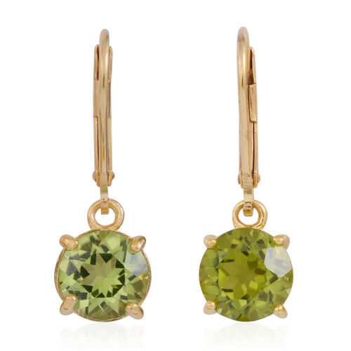 AA Hebei Peridot (Rnd) Lever Back Earrings in 14K Gold Overlay Sterling Silver 4.500 Ct.