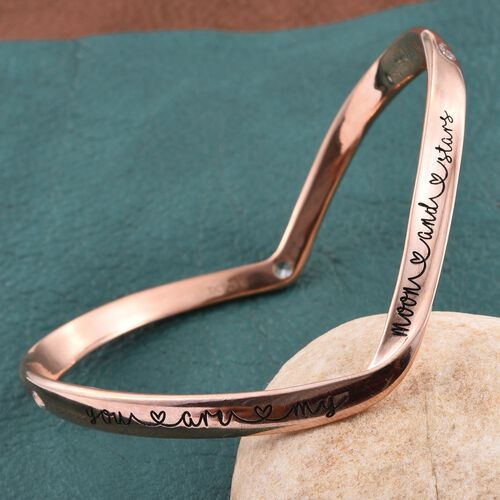 Kimberley A Wish From Me Collection Natural Cambodian Zircon (Rnd) Bangle (Size 7.5) in Rose Gold Overlay Sterling Silver 0.750 Ct.