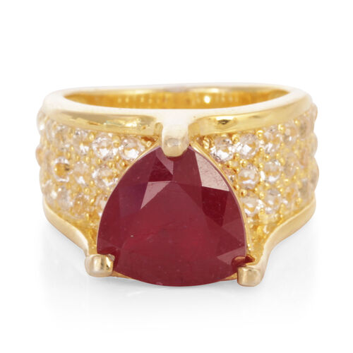African Ruby (Trl 6.25 Ct), White Topaz Ring in 14K Gold Overlay Sterling Silver 7.750 Ct.