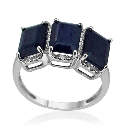 Kanchanaburi Blue Sapphire (Oct), White Sapphire Ring in Rhodium Plated Sterling Silver 6.035 Ct.