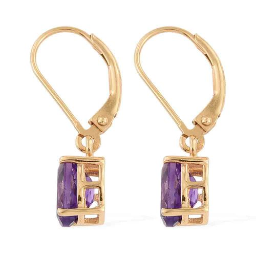 Moroccan Amethyst (Ovl) Lever Back Earrings in 14K Gold Overlay Sterling Silver 2.000 Ct.