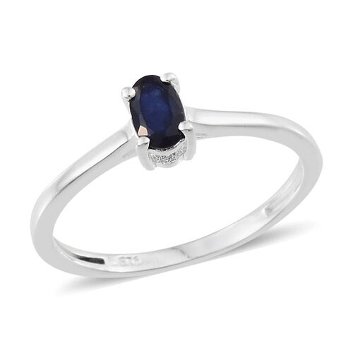 Blue Sapphire (Ovl 0.50 Ct), Diamond Ring in Sterling Silver 0.520 Ct.