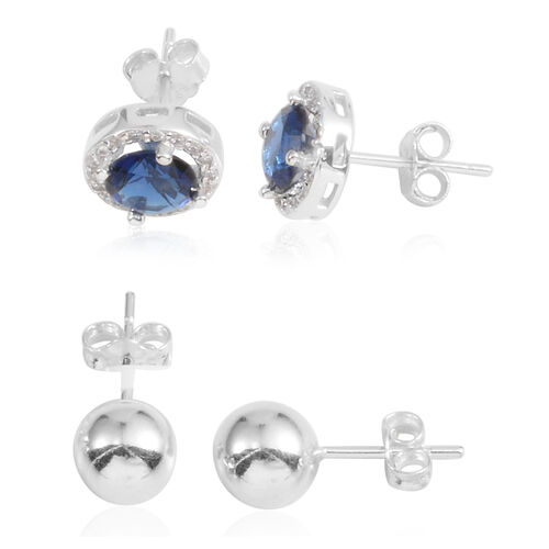 JCK Vegas Collection Set of 2 - AAA Simulated Tanzanite (Rnd), Simulated Diamond Stud Earrings (with Push Back) in Sterling Silver