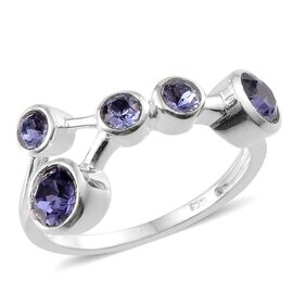 Crystal from Swarovski - Tanzanite Colour Crystal (Rnd) 5 Stone Ring in Sterling Silver 1.000 Ct.