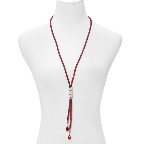 Simulated Ruby and White Austrian Crystal Necklace (Size 30) in Gold Tone