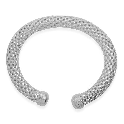 Close Out Deal Mesh Cuff Bangle (Size 7 - 8) in Silver Bond