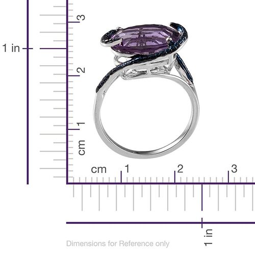 Concave Cut Amethyst (Ovl 4.75 Ct), Blue Diamond Ring in Platinum Overlay Sterling Silver 4.760 Ct.
