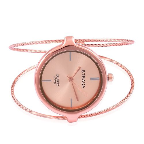 STRADA Japanese Movement Rose Gold Colour Dial Water Resistant Bangle Watch in Rose Gold Tone with Stainless Steel Back