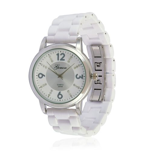 GENOA Japanese Movement White Austrian Crystal Studded White and Silver Dial Water Resistant Watch in Silver Tone with Stainless Steel Back and White Ceramic Strap
