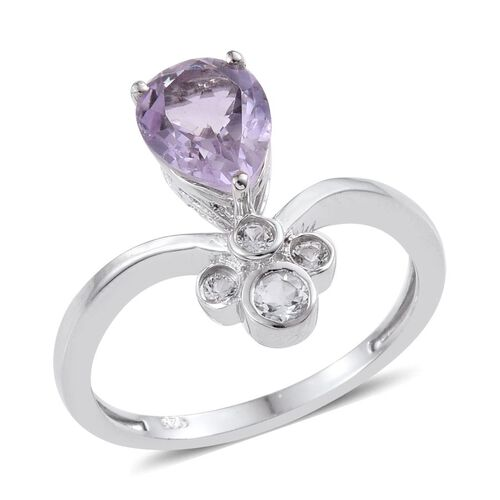 AA Rose De France Amethyst (Pear 1.50 Ct), White Topaz Ring in Platinum Overlay Sterling Silver 1.750 Ct.