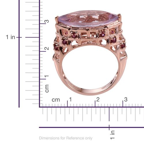 GP Rose De France Amethyst (Mrq 6.50 Ct), Rhodolite Garnet and Kanchanaburi Blue Sapphire Ring in Rose Gold Overlay Sterling Silver 7.000 Ct.