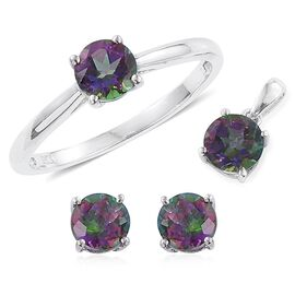 Northern Lights Mystic Topaz (Rnd) Solitaire Ring, Pendant and Stud Earrings (with Push Back) in Platinum Overlay Sterling Silver 4.000 Ct.