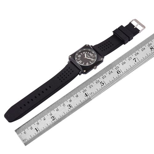 STRADA Japanese Movement Sunshine Pattern Black Dial Water Resistant Watch in Black Tone with Stainless Steel Back and Black Colour Silicone Strap
