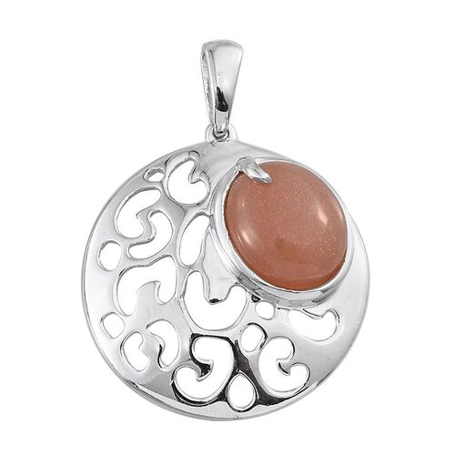 Morogoro Peach Sunstone (Ovl) Solitaire Pendant in Platinum Overlay Sterling Silver 4.750 Ct.