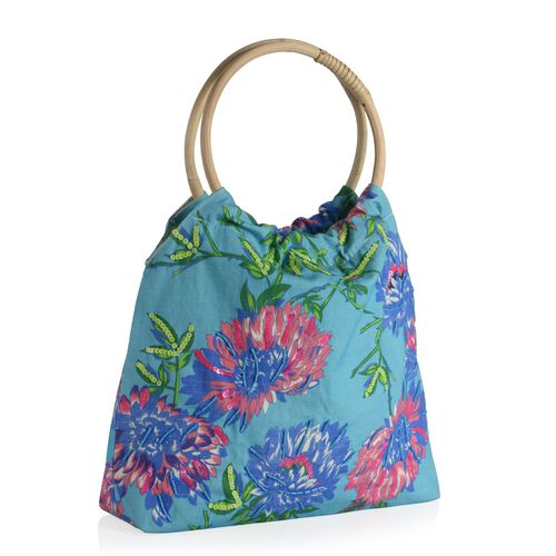 Sicily Pink and Multi Colour Floral and Leaves Pattern Blue Colour Handbag with Sequins (Size 38x30x9 Cm)