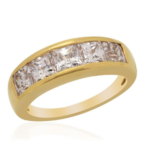 J Francis - 14K Gold Overlay Sterling Silver (Sqr) Ring Made with SWAROVSKI ZIRCONIA  3.550 Ct.