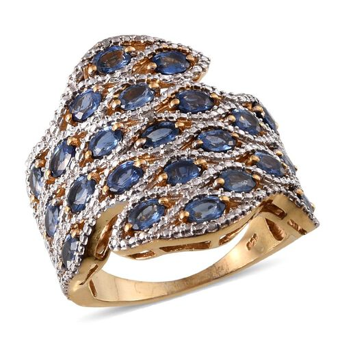 Kanchanaburi Blue Sapphire (Ovl), Diamond Ring in 14K Gold Overlay Sterling Silver 5.270 Ct.