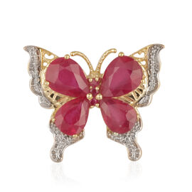 African Ruby (Pear), Burmese Ruby Butterfly Pendant in 14K Gold Overlay Sterling Silver 6.000 Ct.