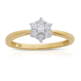 9K Yellow Gold SGL 0.25 Carat Certified Diamond (I3/G-H) 7 Stone Floral Ring.