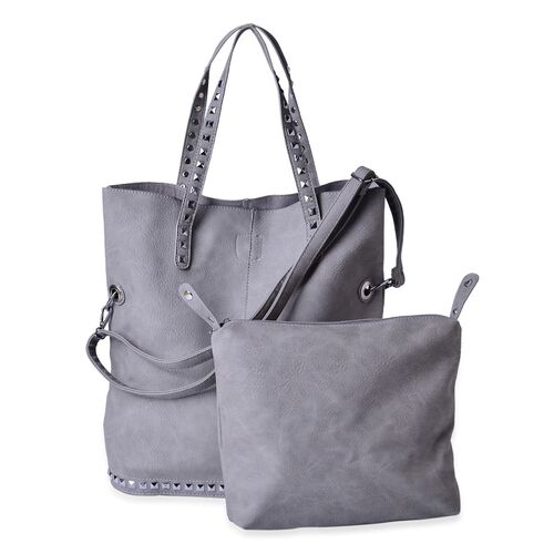 Set of 2 - Grey Colour Large with Adjustable, Removable Shoulder Strap and Small Handbag (Size 42x40x15 Cm and 27x25x9 Cm)