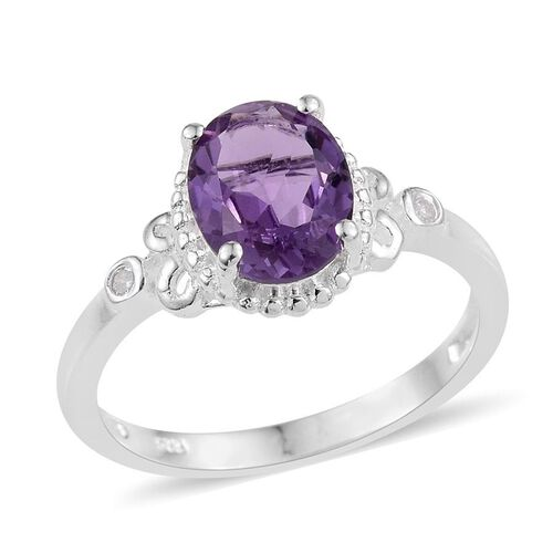 Rose De France Amethyst (Ovl), Diamond Ring in Sterling Silver 1.520 Ct.
