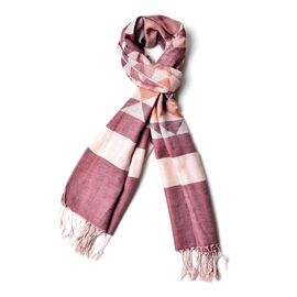 Plum, Orange and White Colour Diamond Pattern Scarf with Fringes (Size 200x67 Cm)