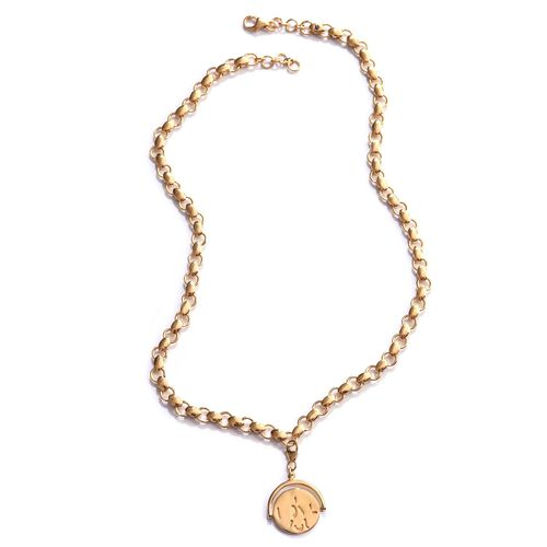 GP Kanchanaburi Blue Sapphire (Rnd) Coin Charm Necklace (Size 18) in 14K Gold Overlay Sterling Silver