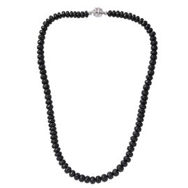 Australian Black Tourmaline (Rnd) Necklace (Size 20) in Platinum Overlay Sterling Silver 325.680 Ct.