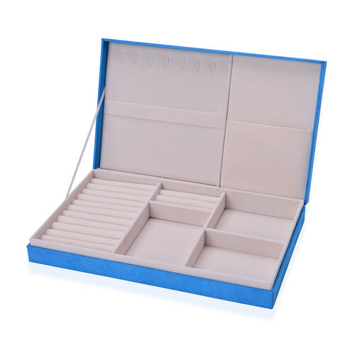Blue Colour Velvet Multi Slots Jewelry Box with Pouch Pocket Inside (Size 32x19.5x6 Cm)